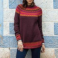 100% alpaca sweater, 'Plum Paradise' - Women's Art Knit Alpaca Pullover Sweater from Peru