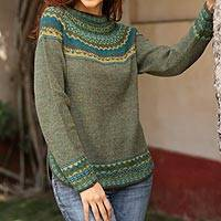 100% alpaca sweater, 'Inca Valley' - Handknit Alpaca Wool Sweater