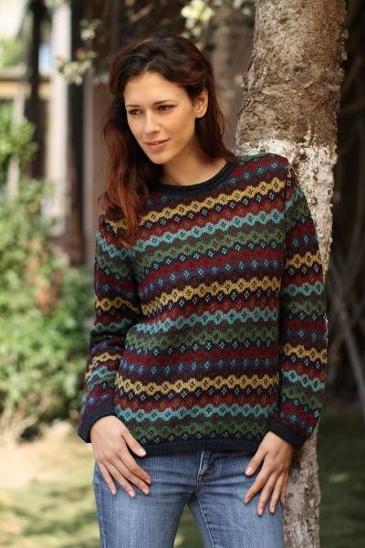 100% alpaca sweater, 'Spring Medley' - Alpaca Wool Striped Pullover Sweater