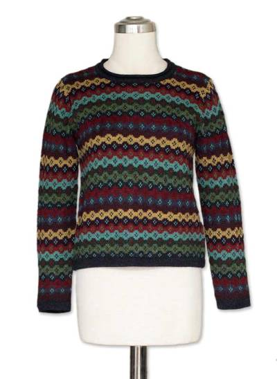 100% alpaca sweater, 'Spring Medley' - Alpaca Wool Striped Pullover Sweater