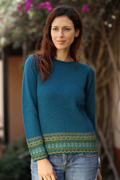 100% alpaca sweater, 'Inca Muse' - Hand Crafted Peruvian Alpaca Wool Sweater
