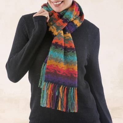 100% alpaca scarf, 'Andean Twilight' - Alpaca Wool Striped Scarf from Peru