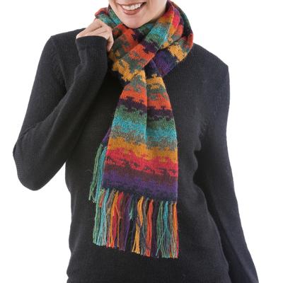 100% alpaca scarf, 'Andean Twilight' - Alpaca Wool Striped Scarf from Peru