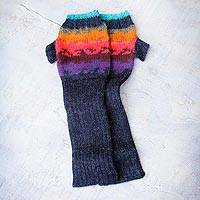 100% alpaca fingerless mitts, 'Andean Twilight' - Hand Crafted Alpaca Wool Gloves