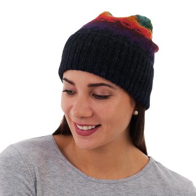 Handmade Alpaca Wool Striped Hat from Peru