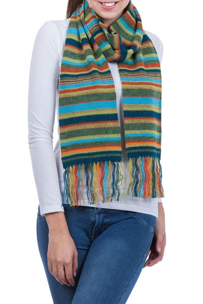 100% alpaca scarf, 'Andean Sunrise' - Collectible Alpaca Wool Striped Scarf