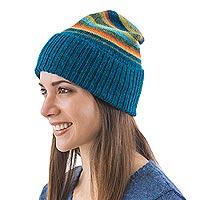 100% alpaca hat, 'Andean Sunrise' - 100% alpaca hat