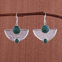 Chrysocolla dangle earrings, 'Inca Tumi'