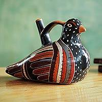 Ceramic vessel, 'Dove' - Hand-Painted Ceramic Dove Vessel with Whistle