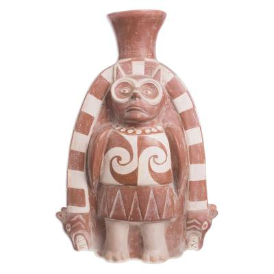 Ceramic sculpture, 'Moche Owl God' - Archaeological Ceramic Sculpture