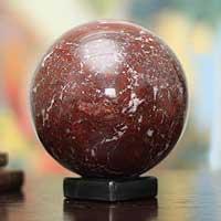 Garnet sphere, 'Inner Fire' - Hand Carved Garnet Globe Gemstone Sphere
