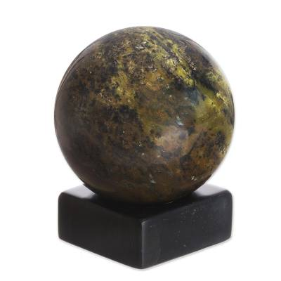 Serpentine sphere, 'Forest Whisper' - Modern Serpentine Gemstone Sculpture