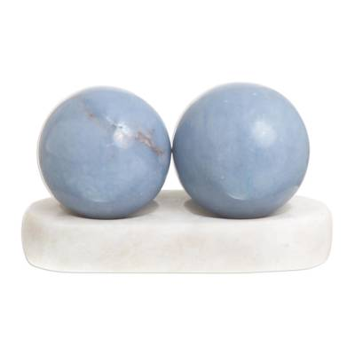 Angelite spheres, 'Celestial Peace' (pair) - Unique Peace and Calm Angelite Spheres from Peru (Pair)