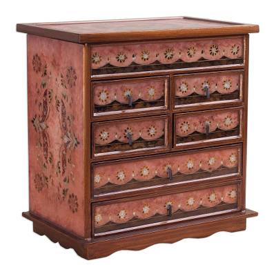 Rose Reverse Hand Painted Glass Jewelry Chest