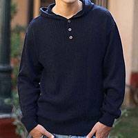 Men's alpaca blend sweater, 'Midnight Blue'