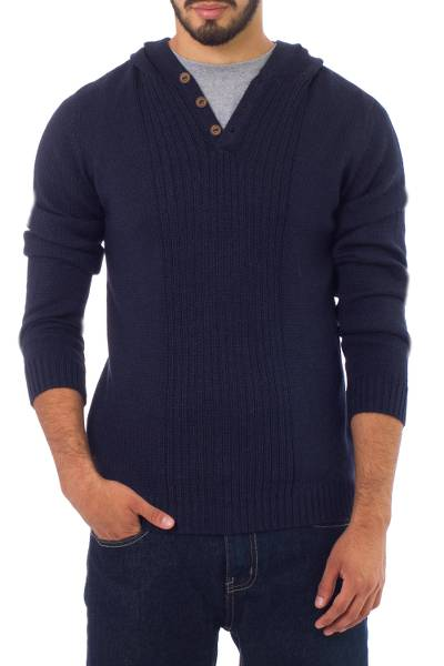Men's alpaca blend sweater, 'Midnight Blue' - Men's Alpaca Wool Pullover Sweater