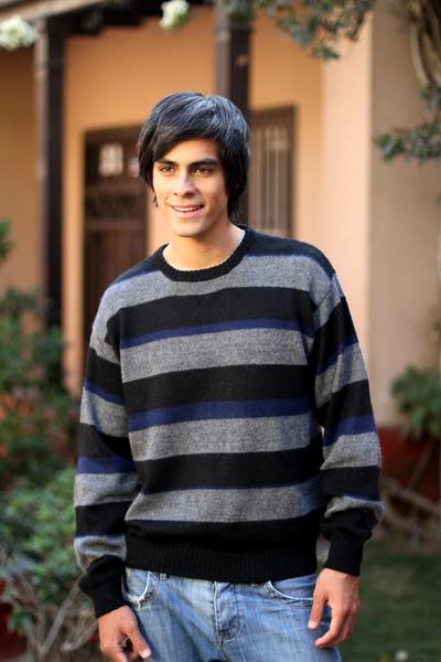 Men's alpaca blend sweater, 'Casual Classic' - Men's Striped Alpaca Wool Sweater