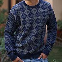 Men's alpaca blend sweater, 'Blue Argyle' - Fair Trade Alpaca Men's Sweater
