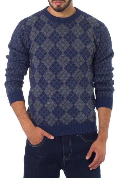 Men's alpaca blend sweater, 'Blue Argyle' - Men's Geometric Alpaca Patterned Pullover Sweater