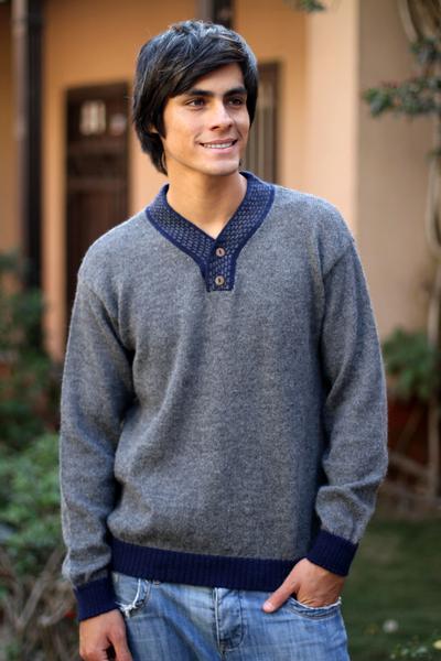 Men's alpaca blend sweater, 'Gray Day' - Men's Unique Alpaca Wool Blend Pullover Sweater