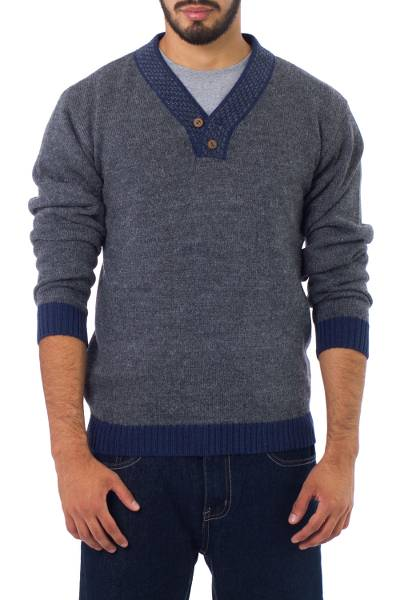 Men's alpaca blend sweater, 'Gray Day' - Men's Unique Alpaca Wool Blend Pullover Sweater