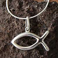 Sterling silver pendant necklace, 'Titicaca Fish' - Sterling silver pendant necklace