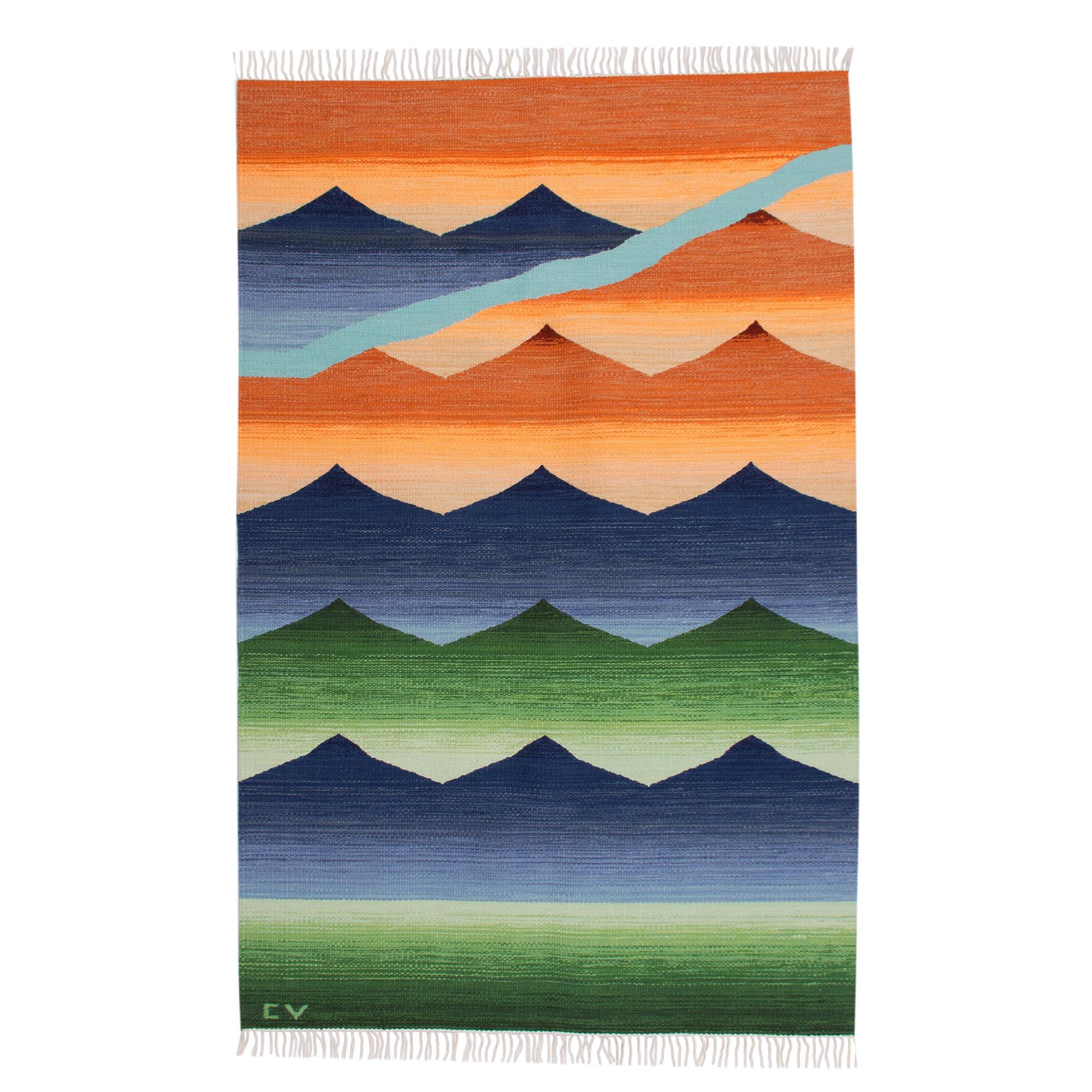 Kiva Store Peruvian Hand Loomed Wool Area Rug 4x6 Sunset
