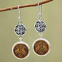Mate gourd dangle earrings, 'Love and Peace' - Mate gourd dangle earrings