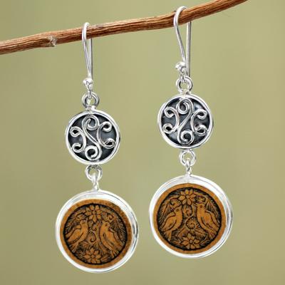 Mate gourd dangle earrings, 'Love and Peace' - Mate gourd dangle earrings