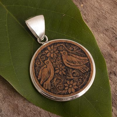 Mate gourd pendant, 'Love and Peace' - Mate Gourd Bird Pendant
