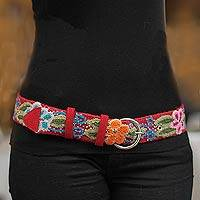 Wool belt, 'Crimson Garland' - Fair Trade Women's Floral Wool Embroidered Belt