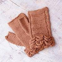 100% alpaca fingerless mittens, 'Nutmeg Petals' - Alpaca Wool Fingerless Gloves