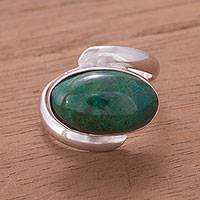 Chrysocolla cocktail ring, 'Endless Ocean'