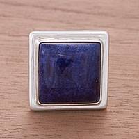 Sodalite cocktail ring, 'Blue Dawn' - Artisan Crafted Fine Silver and Sodalite Cocktail Ring