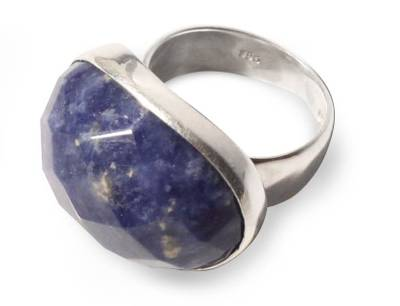Sodalite solitaire ring, 'Inca Universe' - Unique Sterling Silver and Sodalite Cocktail RIng