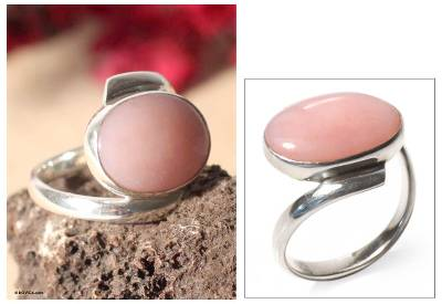 Opal cocktail ring, 'Sweet Rose' - Sterling Silver and Opal Cocktail Ring from Peru