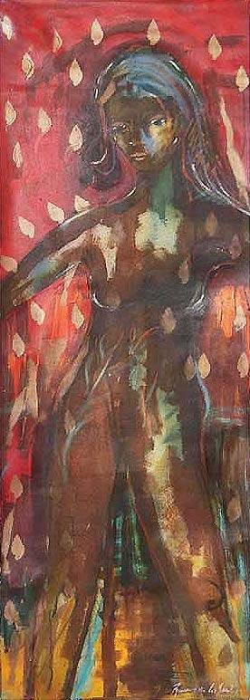 'Woman III' (2010) - Artistic Nude Expressionist Painting from Peru (2010)