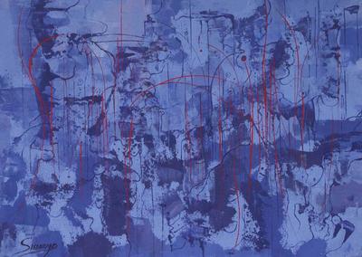'Blue Reflection' - Peru Original Fine Art Abstract Painting