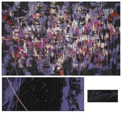 'Composition in Violet' - Original Fine Art Abstract Painting from Peru