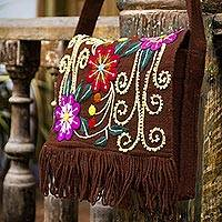 Wool shoulder bag, 'Earth Rose' - Floral Wool Embroidered Shoulder Bag