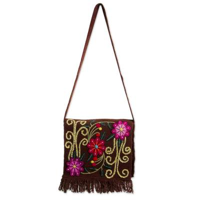 Wool shoulder bag, 'Earth Rose' - Floral Wool Embroidered Shoulder Bag