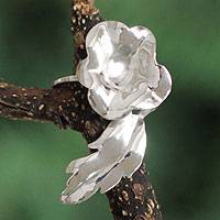 Silver flower ring, 'Magnificent Leaves' - Silver flower ring