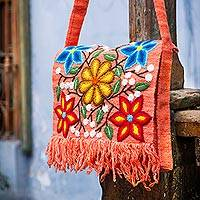 Wool shoulder bag, 'Country Dawn' - Floral Embroidered Wool Shoulder Bag