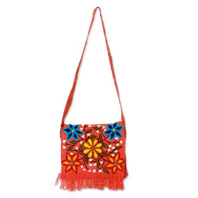 Wool shoulder bag, 'Country Dawn' - Floral Embroidered Wool Shoulder Bag