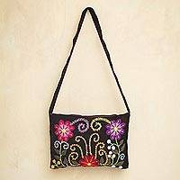 Novica Wool flap shoulder bag, Snow Messenger - Hand Embroidered Wool Shoulder Bag