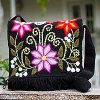 Wool shoulder bag, 'Andean Floral' - Handcrafted Floral Wool Shoulder Bag