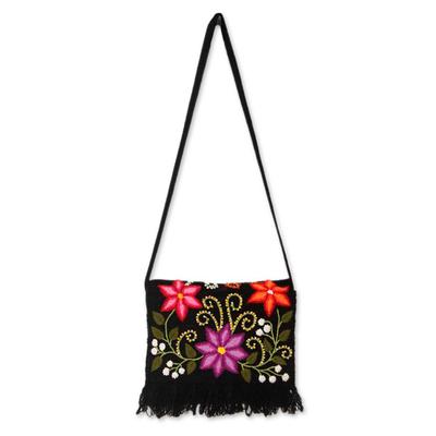 Novica Wool shoulder bag, Floral Fiesta