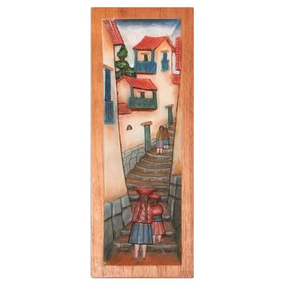 Cedar relief panel, 'Cuzco Lane' - Cultural Wood Relief Panel