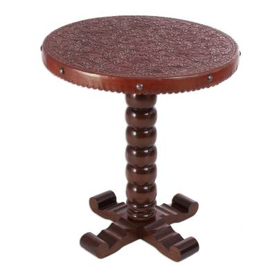 Cedar and leather accent table, Floral