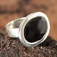 Obsidian cocktail ring, 'Moon Facets' - Women's Protection Sterling Silver Cocktail Obsidian Ring